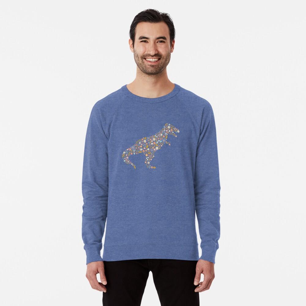 Floral T-Rex in Blue + Coral Lightweight Sweatshirt