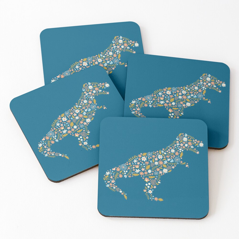 Floral T-Rex in Blue + Coral Coasters (Set of 4)
