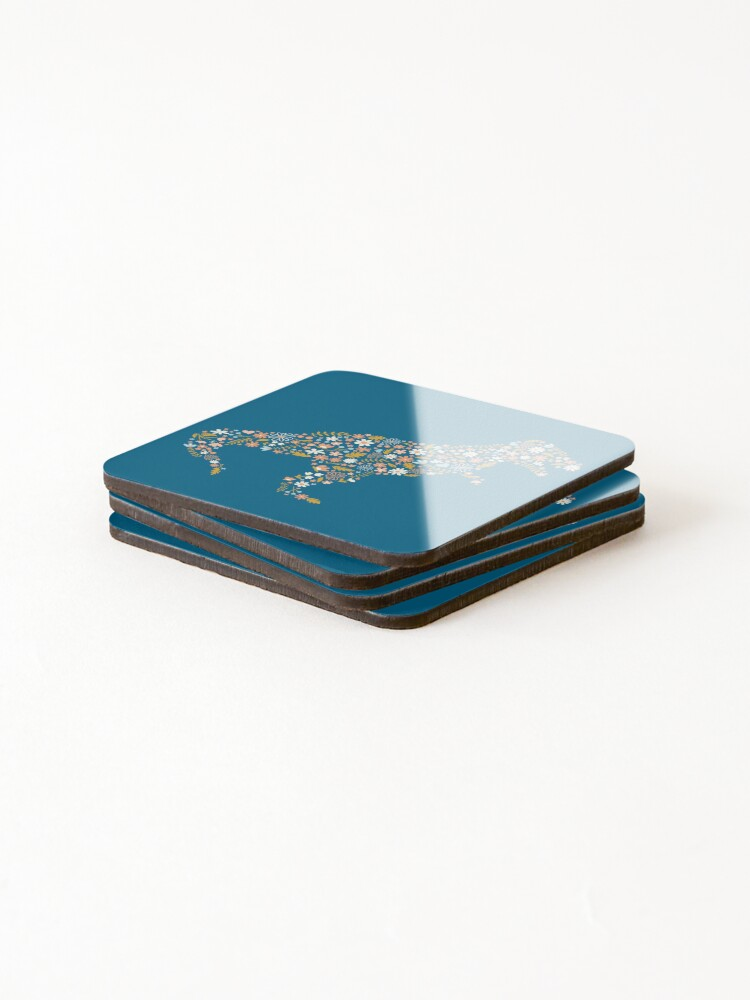 Alternate view of Floral T-Rex in Blue + Coral Coasters (Set of 4)