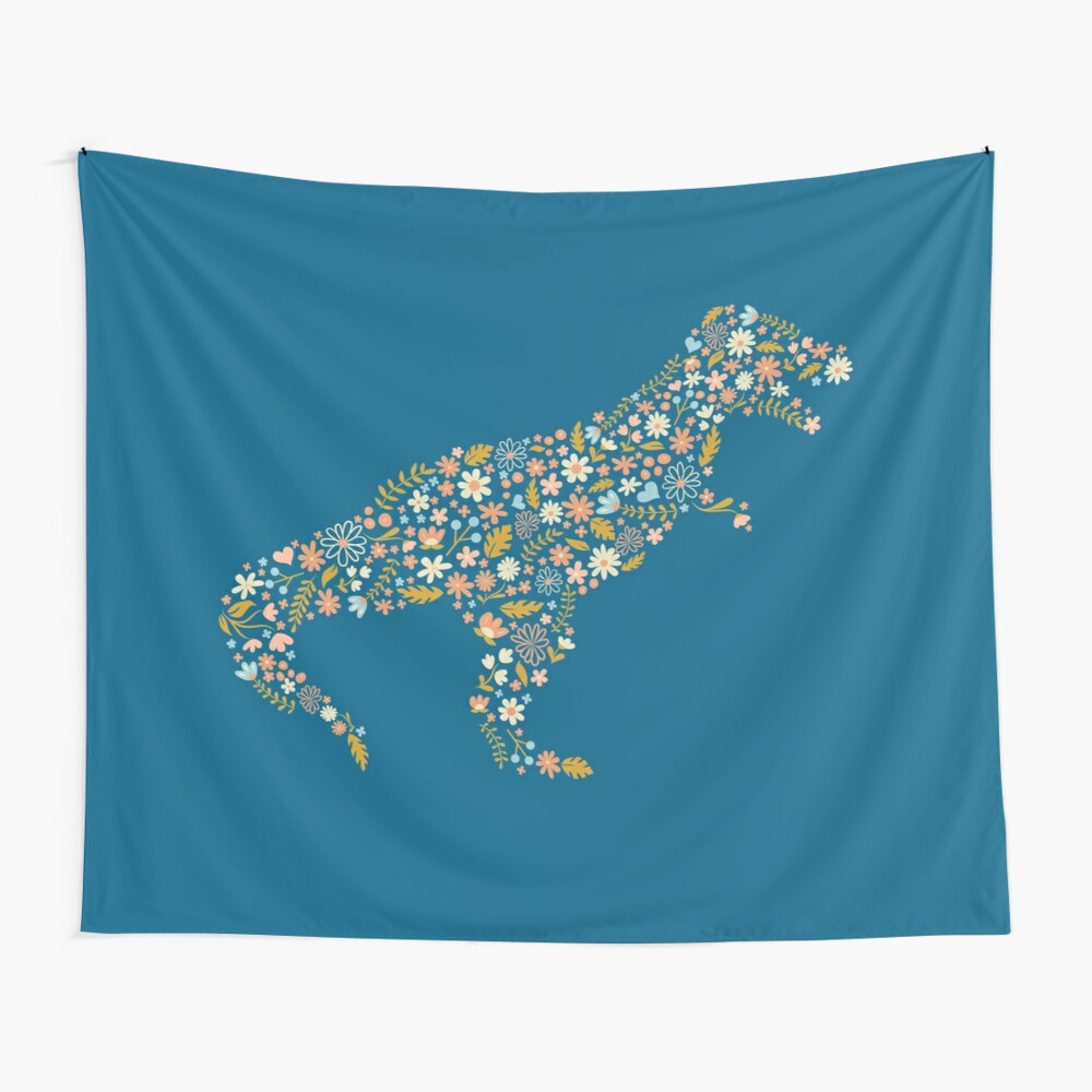 Floral T-Rex in Blue + Coral Wall Tapestry