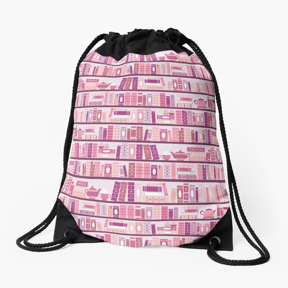Pink Bookcase Pattern Romance Tea Books Drawstring Bag