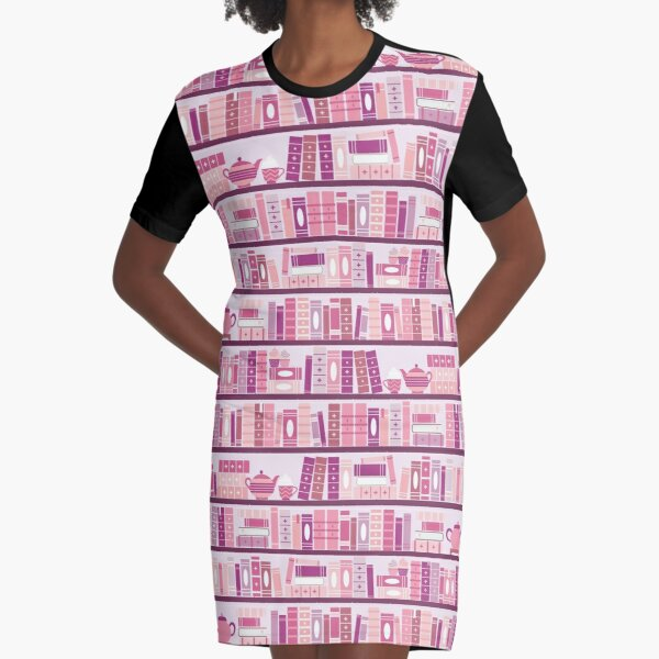 Pink Bookcase Pattern Romance Tea Books Graphic T-Shirt Dress