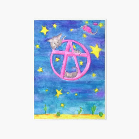 A pink Moon with Space Armadillos Art Board Print