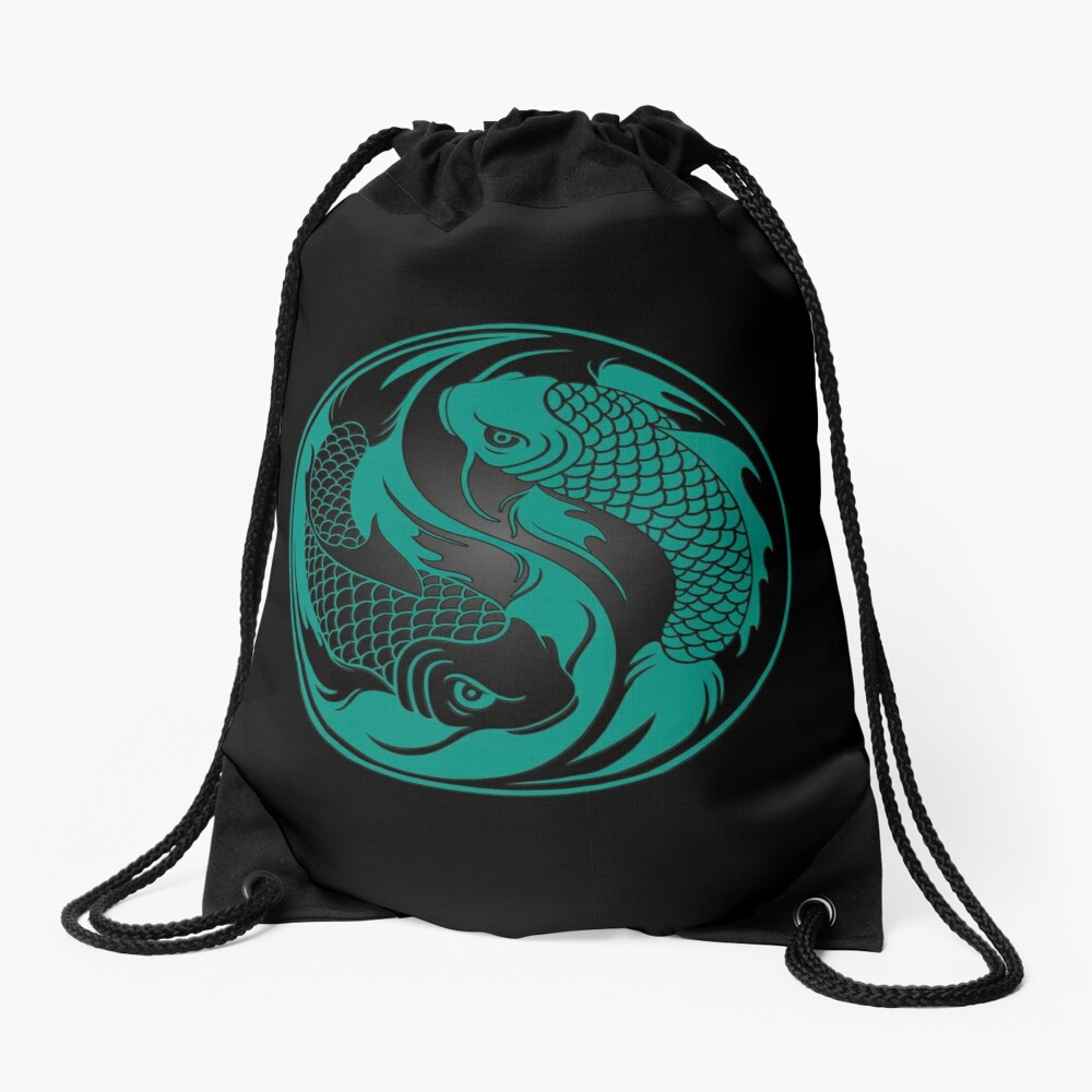 Teal Blue and Black Yin Yang Koi Fish Drawstring Bag