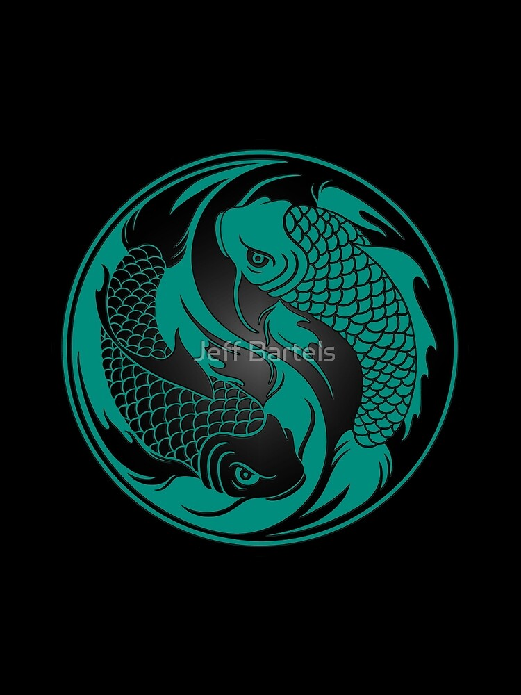 Teal Blue and Black Yin Yang Koi Fish by JeffBartels