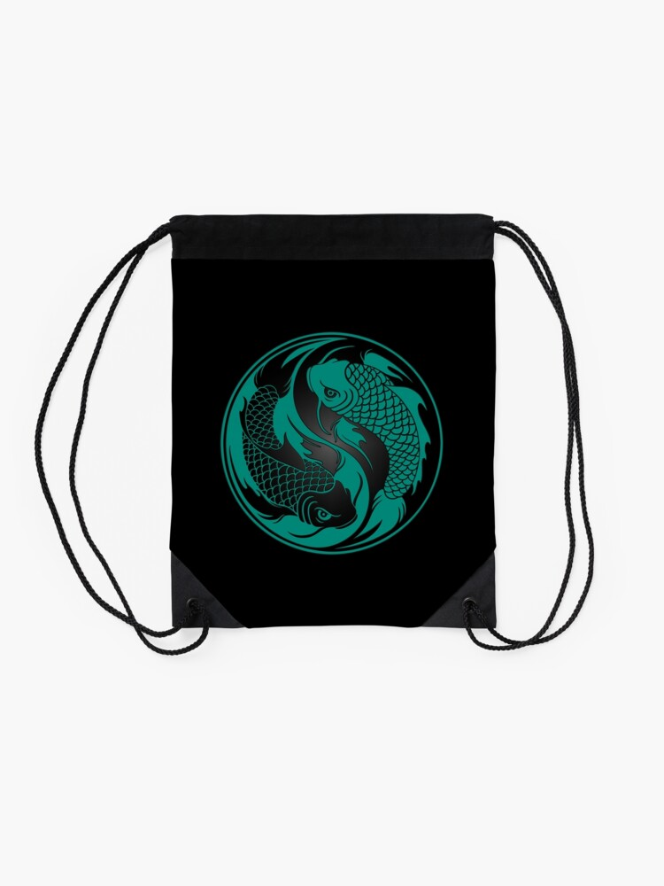 Alternate view of Teal Blue and Black Yin Yang Koi Fish Drawstring Bag