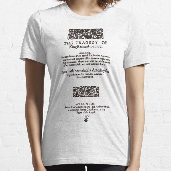 Shakespeare Richard III Frontpiece - Simple Black Version Essential T-Shirt