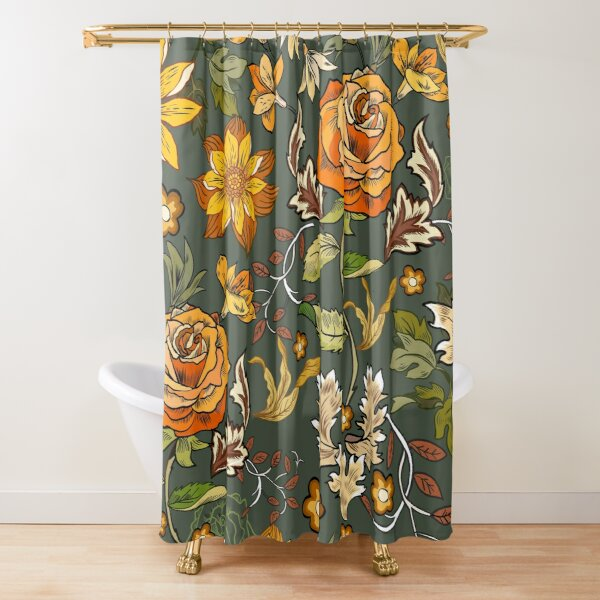70s Vintage style, boho retro roses, William Morris inspired floral, orange and green Shower Curtain
