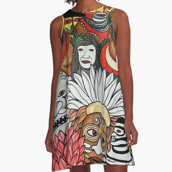 #259 - Unique PNG Culture II - Artist Nathalie Le Riche A-Line Dress