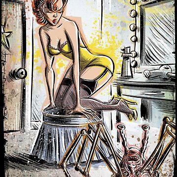 Pin Up, Girl, The Thing, Art, Print, Spider, Head, 50's, Elvgrin, Elvgren, John Carpenter, Dressing Room, Joe Badon, illustration, drawing, sexy, horror by joebadon