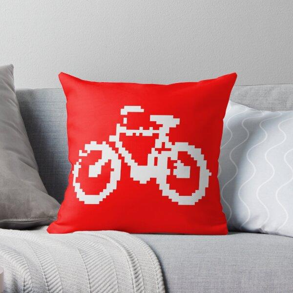 1 bit pixel bike (white) Throw Pillow