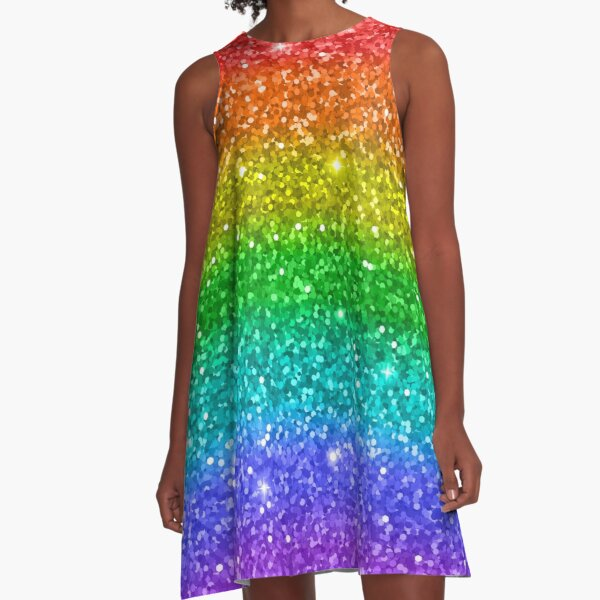 Glitter Rainbow Pride LGBT A-Linien Kleid