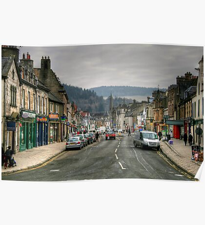 Looking Up High Street, Peebles Poster
