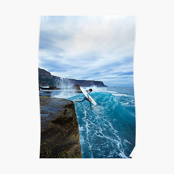 Mike Brennan Ledge Jump Shipstern Bluff Poster