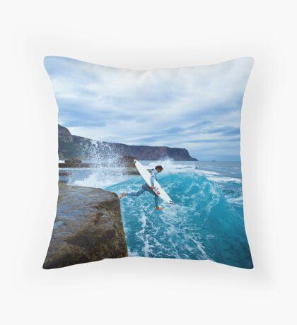 Mike Brennan Ledge Jump Shipstern Bluff Throw Pillow