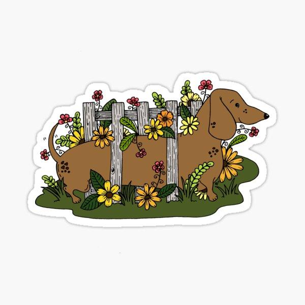 Dachshund Garden  Sticker