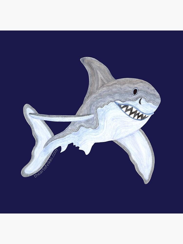 Great White Shark Fanciful Aquatic Watercolor by theartofvikki