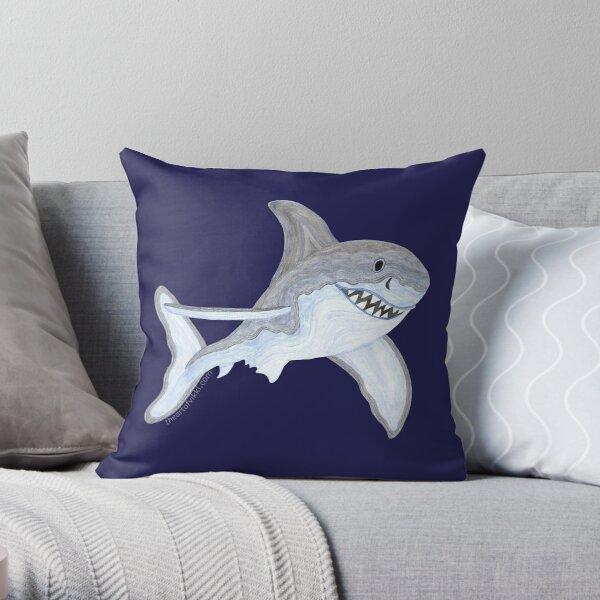 Great White Shark Fanciful Aquatic Watercolor Throw Pillow