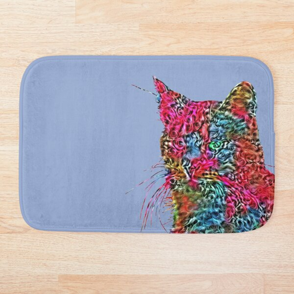 Artificial neural style Rose wild cat Bath Mat
