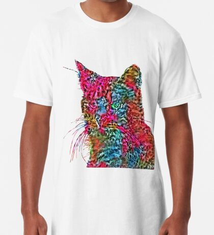 Artificial neural style Rose wild cat Long T-Shirt