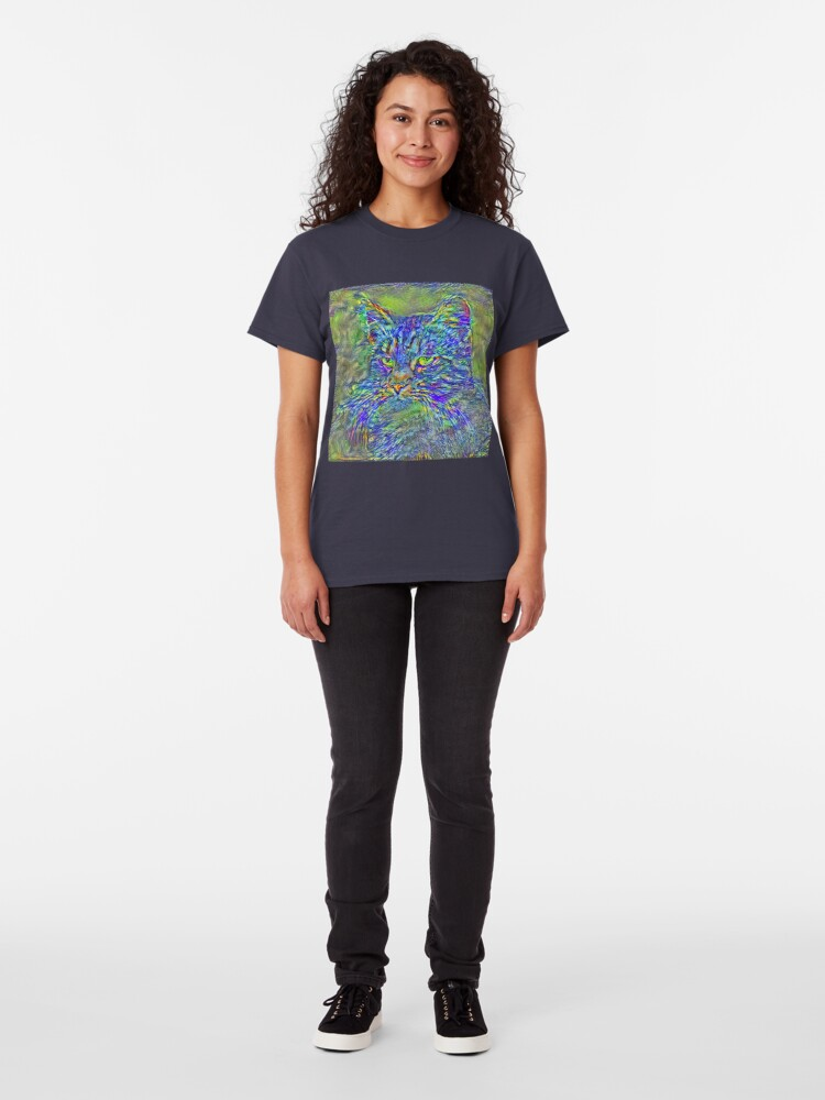 Alternate view of Artificial neural style Post-Impressionism cat Classic T-Shirt
