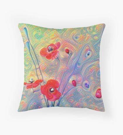 #Deepdreamed Poppies Floor Pillow