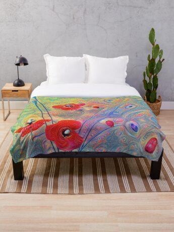 #Deepdreamed Poppies Throw Blanket