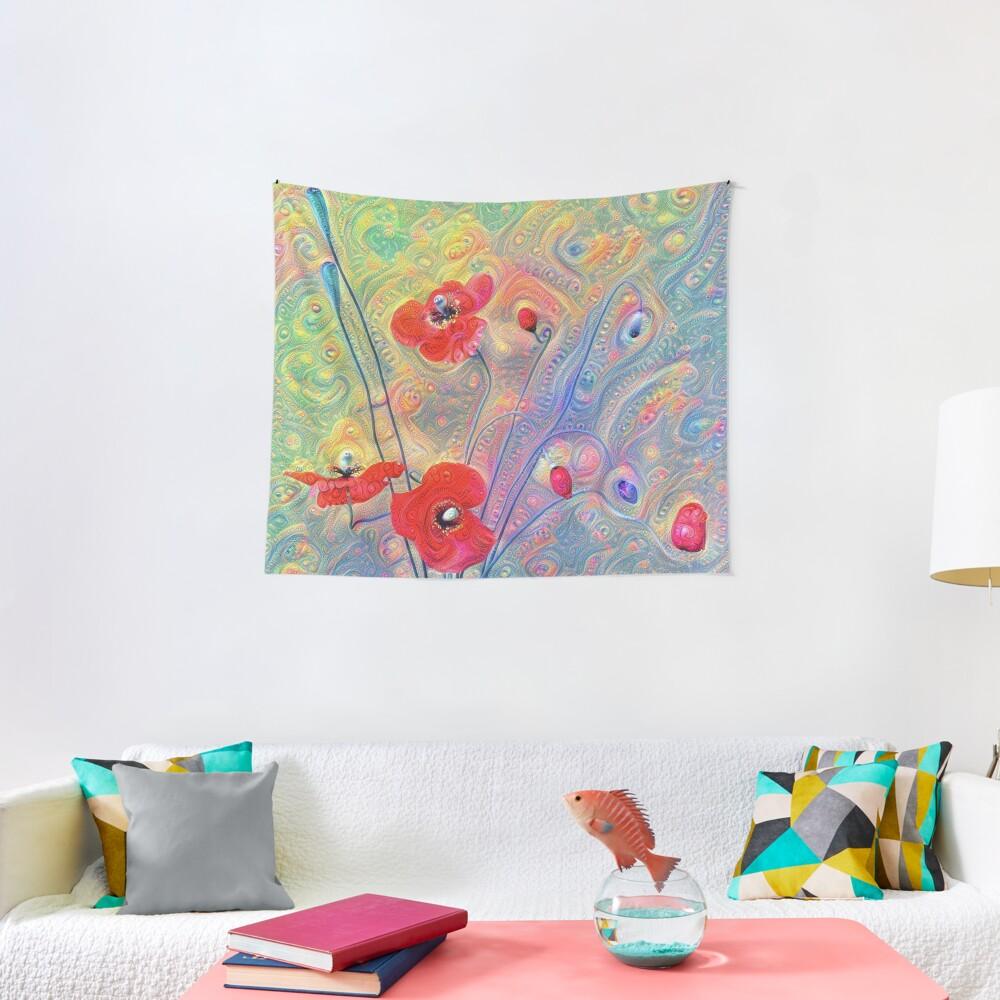 #Deepdreamed Poppies Tapestry