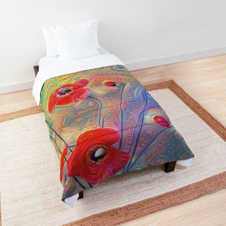 #Deepdreamed Poppies Comforter
