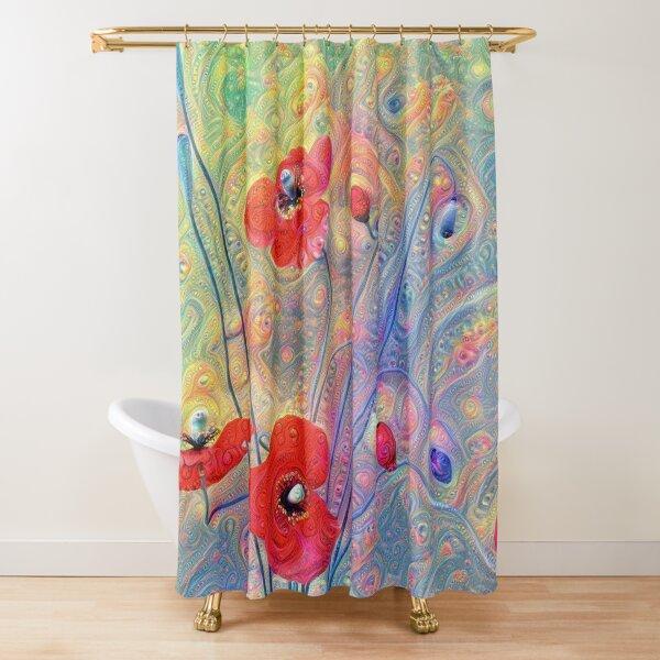 #Deepdreamed Poppies Shower Curtain