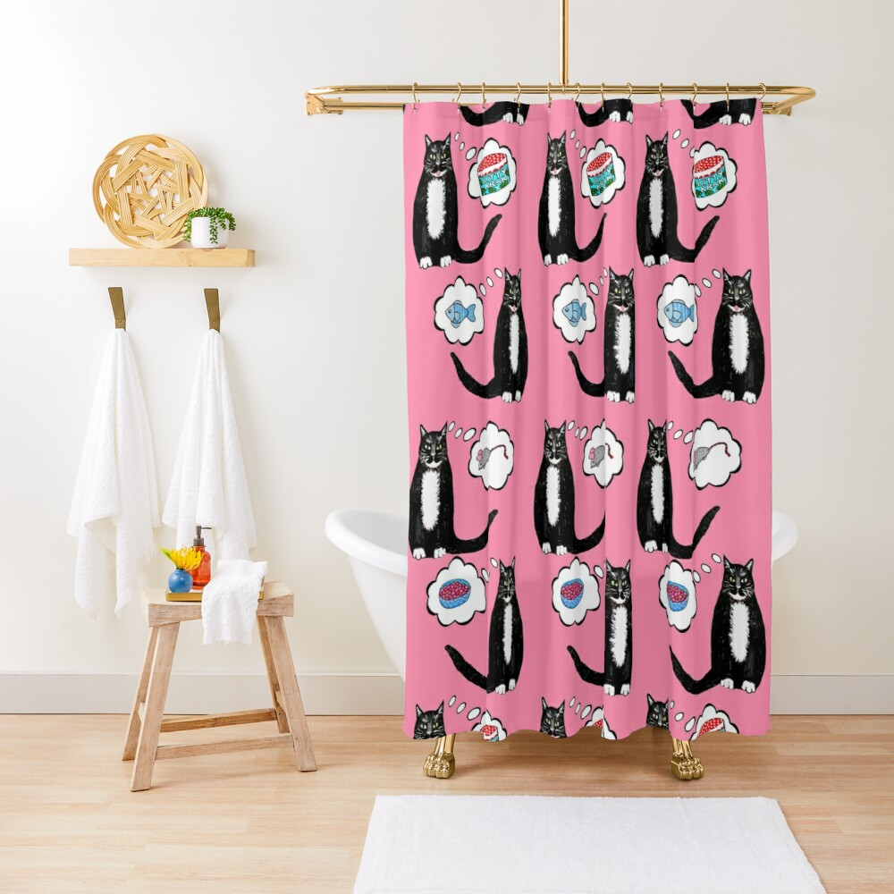 what your cat wants Santa Claws to bring // Christmas Cat nip dreams on pink Shower Curtain