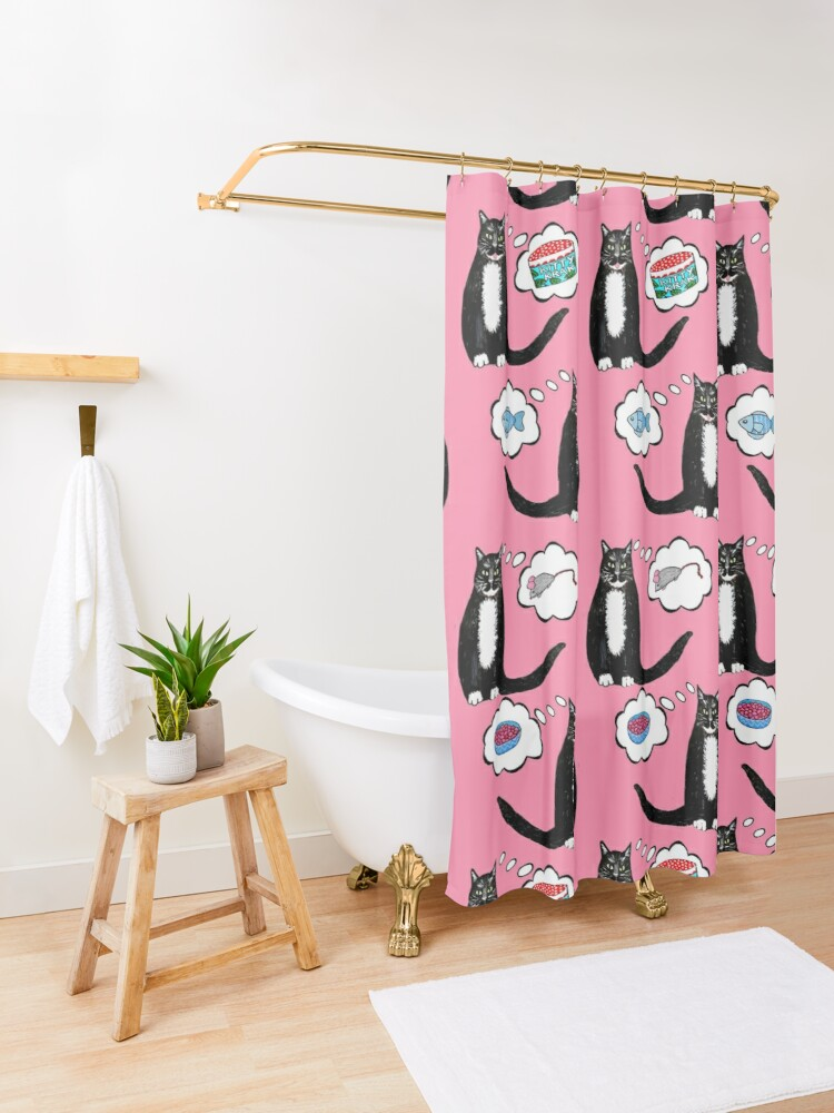 Alternate view of what your cat wants Santa Claws to bring // Christmas Cat nip dreams on pink Shower Curtain