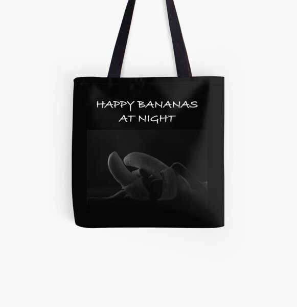 HAPPY BANANAS AT NIGHT All Over Print Tote Bag