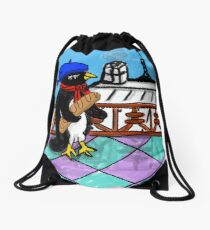 Parisian Penguin Drawstring Bag