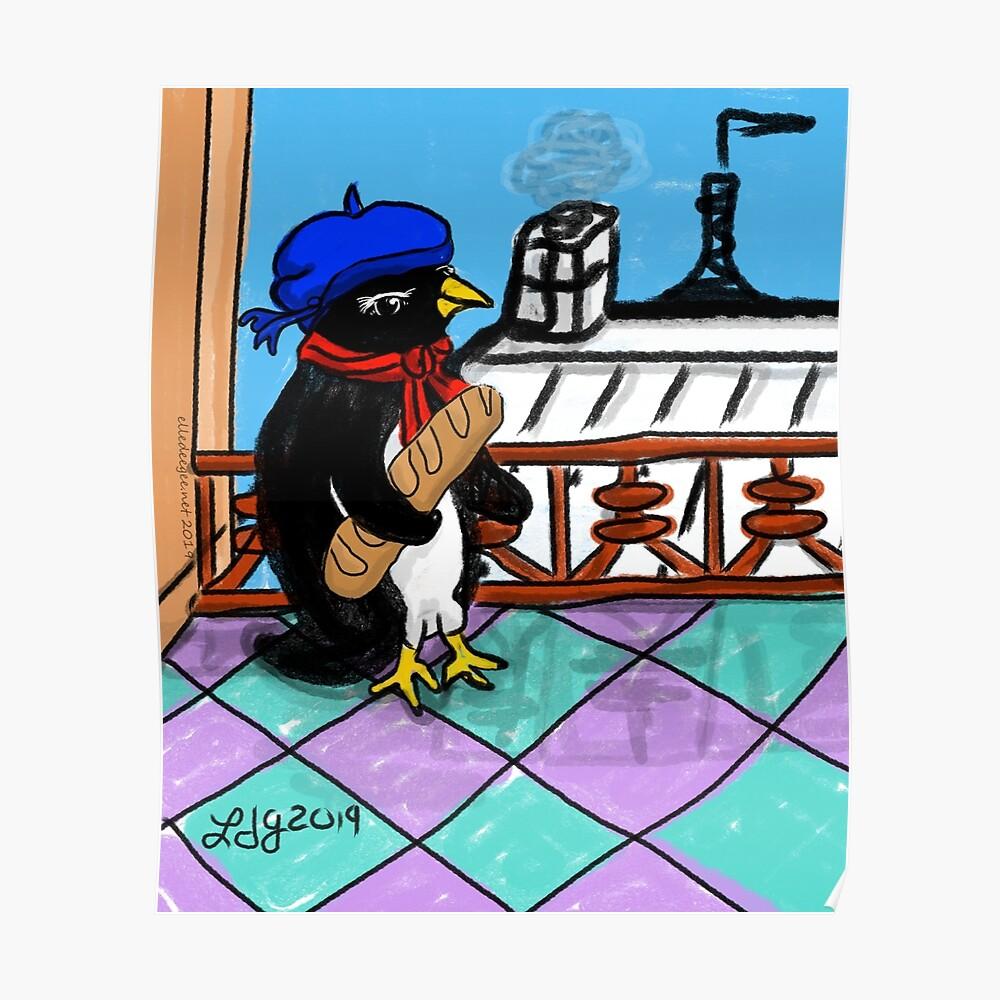 Parisian Penguin Poster
