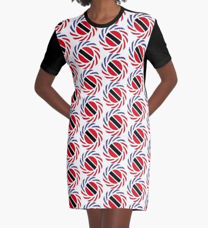 Trinidadian American Multinational Patriot Flag Series Graphic T-Shirt Dress