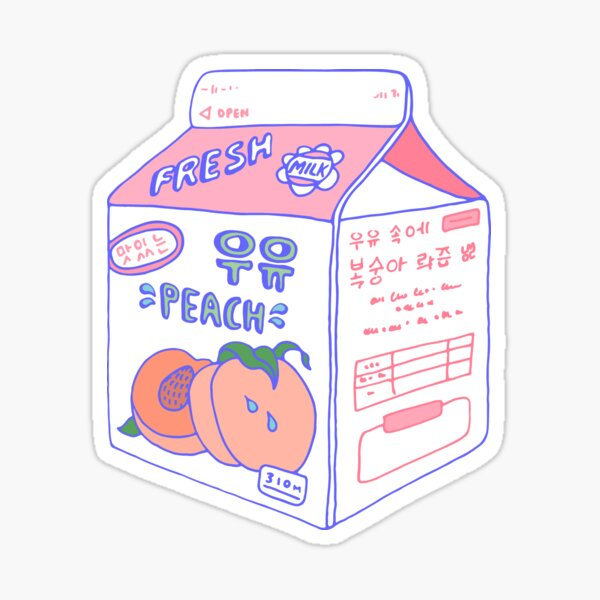 Peach Milk Carton Sticker