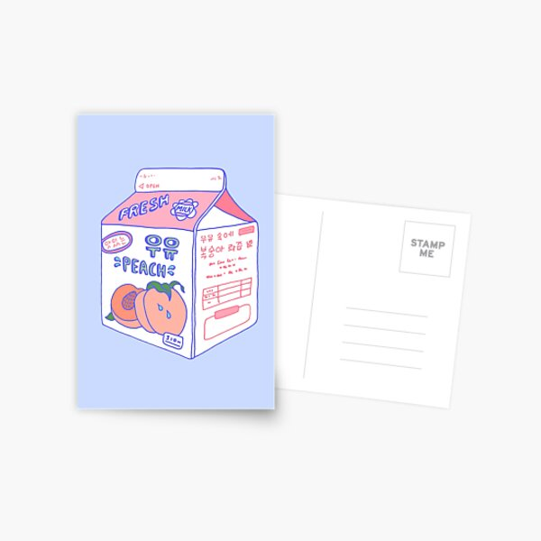 Peach Milk Carton Postcard