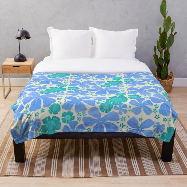 Tropical Floral In Teal Turquoise And Blue Throw Blanket