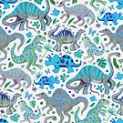 Happy Dinos in Blue and Green by micklyn