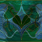 Glass Leaves: stained-glass style fluid acrylic painting digital art by kerravonsen