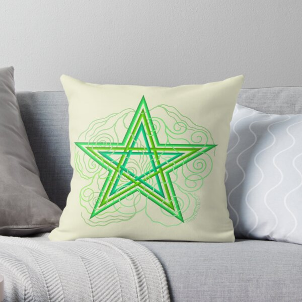 Green Pentagram With Swirly Vines Magic Wicca Symbol Throw Pillow