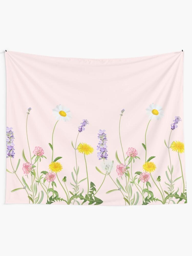 Alternate view of Blush pink - wildflower dreams Tapestry