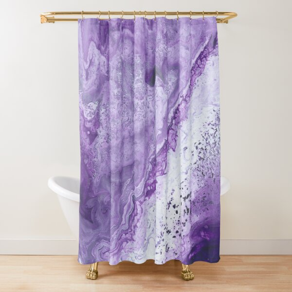 Purple White and Grey Seafoam Fluid Pour Shower Curtain