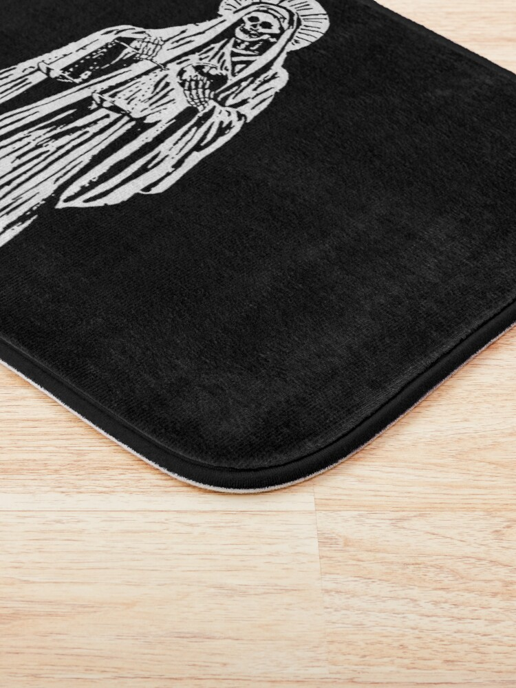 Alternate view of Santa Muerte. Spanish for Our Lady of Holy Death. Bath Mat