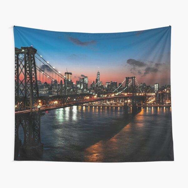 Manhattan Bridge at night Tapestry