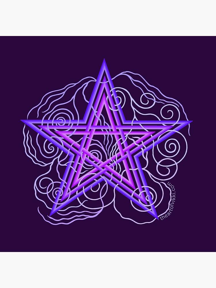 Purple Pentagram With Swirly Vines Magic Wicca Symbol by theartofvikki