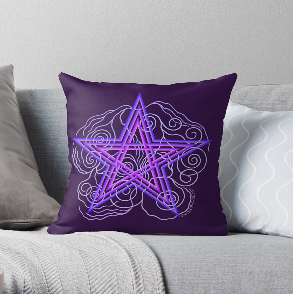 Purple Pentagram With Swirly Vines Magic Wicca Symbol Throw Pillow