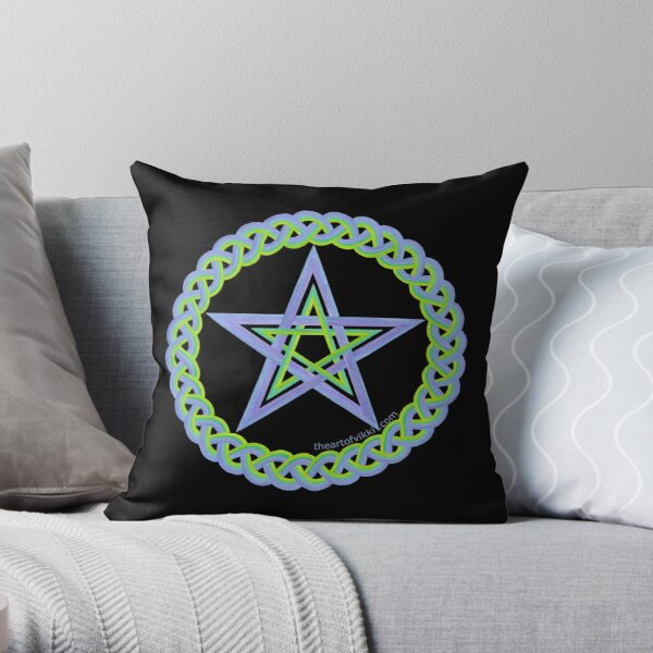 Magic Pentagram Wicca Symbol In Peacock Colors Throw Pillow