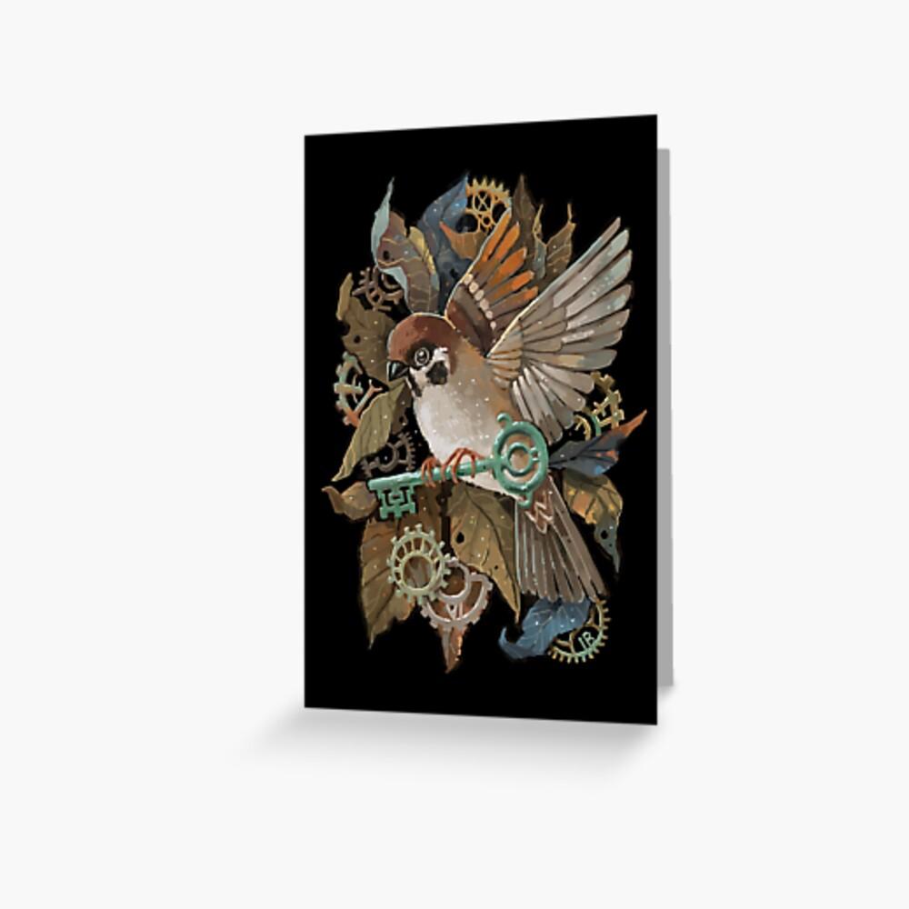 Clockwork Sparrow Greeting Card